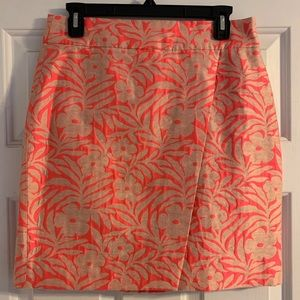 J. Crew faux wrap skirt botanical print pink gold